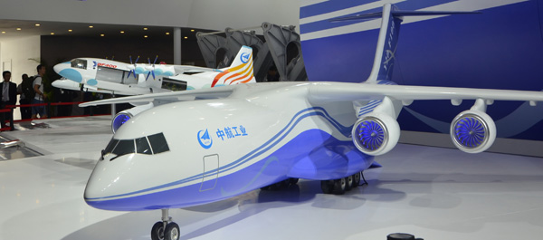 A model of the Y-20F-100 is displayed at the 11th China International Aviation and Aerospace Exhibition in Zhuhai, Guangdong province, earlier this month. (Photo provided to China Daily)